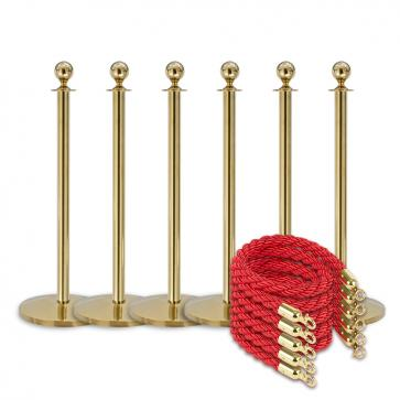 Queue package -Brass- 6 posts / 5 ropes