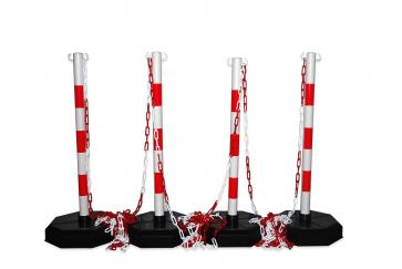 Chain stanchion package -Robust-, 4 plastic stanchion incl. 25m chain (Red/White)