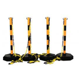 Chain stanchion package -Robust-, 4 plastic stanchion incl. 25m chain (Yellow/Black)
