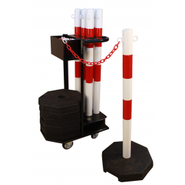 Plastic stanchions with chain, including trolley (25m)