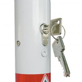 Barrier post of steel tube Removable, with euro profile cylinder lock